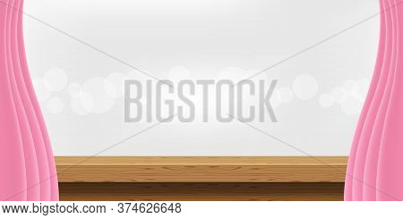 Wood Table And Pink Curtains For Advertise Product Display, Wooden Top Table Decoration With Curtain