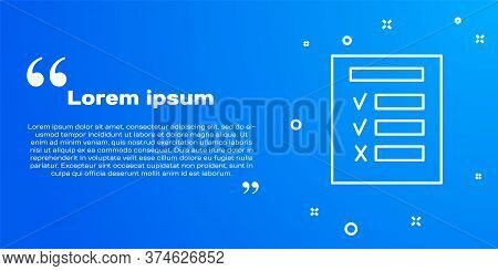 White Line Car Inspection Icon Isolated On Blue Background. Car Service. Vector Illustration