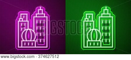 Glowing Neon Line City Landscape Icon Isolated On Purple And Green Background. Metropolis Architectu