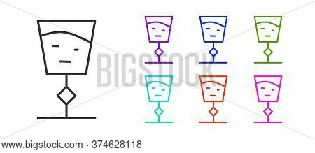 Black Line Wine Glass Icon Isolated On White Background. Wineglass Sign. Set Icons Colorful. Vector