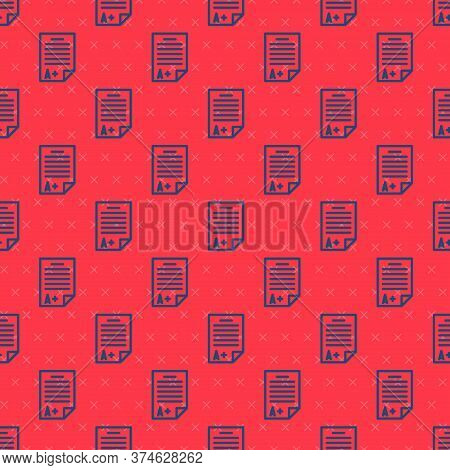 Blue Line Exam Sheet With A Plus Grade Icon Isolated Seamless Pattern On Red Background. Test Paper,