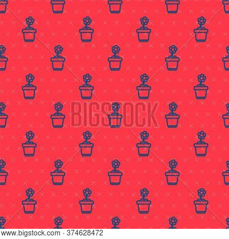Blue Line Flower In Pot Icon Isolated Seamless Pattern On Red Background. Plant Growing In A Pot. Po