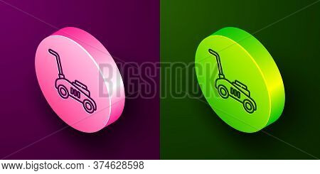 Isometric Line Lawn Mower Icon Isolated On Purple And Green Background. Lawn Mower Cutting Grass. Ci