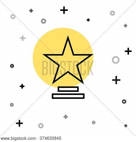 Black Line Movie Trophy Icon Isolated On White Background. Academy Award Icon. Films And Cinema Symb