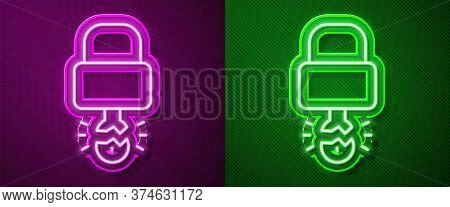 Glowing Neon Line Key Broke Inside Of Padlock Icon Isolated On Purple And Green Background. Padlock