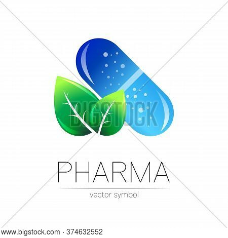 Pharmacy Vector Symbol With Green Leaf For Pharmacist, Pharma Store, Doctor And Medicine. Modern Des