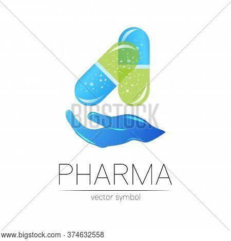 Pharmacy Vector Symbol With Hand For Pharmacist, Pharma Store, Doctor And Medicine. Modern Design Ve