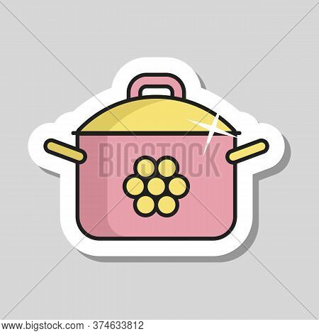 Saucepan Icon. Cooking Pot Or Pan Sign. Graph Symbol For Cooking Web Site Design, Logo, App, Ui