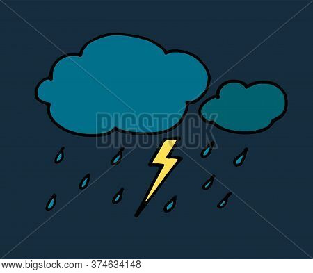 Colored Hand Drawn Doodle Rainy Clouds With Drops. Vector Illustration Isolated On White. Simple Bla