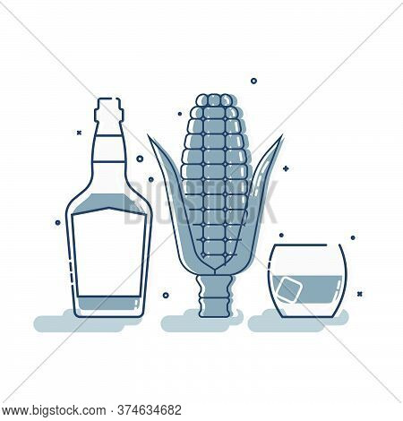 Ear Of Corn With Glass Bottle Whiskey And Glassware In Flat Style. Alcohol Beverage. Great Design Fo