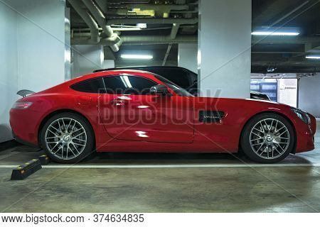 Seoul, South Korea - 03.11.18: Mercedes-benz Amg Red Color Parked In The Underground Parking. A Spor