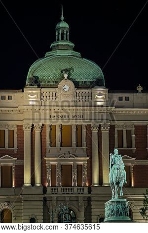 Belgrade / Serbia - August 30, 2019: Night View Of The Statue Of Prince Mihailo Obrenovic In The Rep