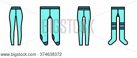 Tights Icons Set. Outline Set Of Tights Vector Icons Thin Line Color Flat On White