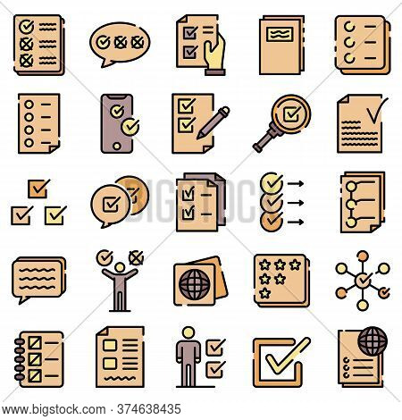 Checklist Icons Set. Outline Set Of Checklist Vector Icons Thin Line Color Flat On White
