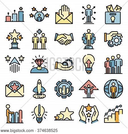 Opportunity Icons Set. Outline Set Of Opportunity Vector Icons Thin Line Color Flat On White