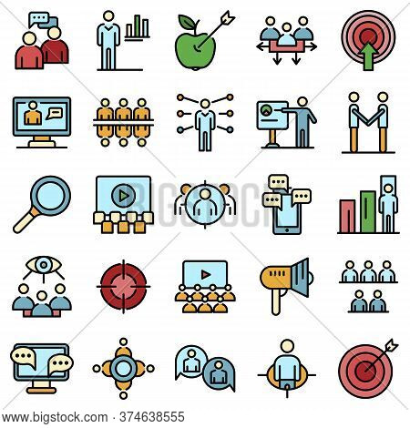 Audience Icons Set. Outline Set Of Audience Vector Icons Thin Line Color Flat On White