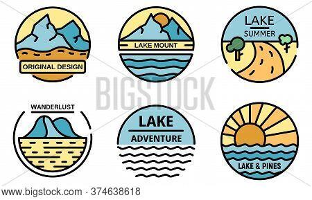 Lake Logo Set. Outline Set Of Lake Vector Logo Thin Line Color Flat On White