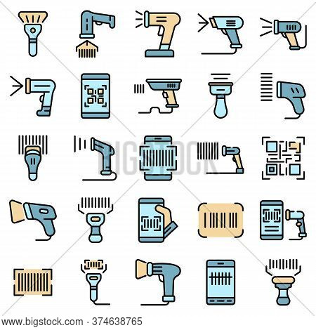 Barcode Scanner Icons Set. Outline Set Of Barcode Scanner Vector Icons Thin Line Color Flat On White