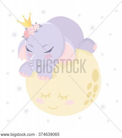 Little Baby Elephant Sleeping On The Moon. Smiling Planet. Sweet Dreams, Stars. Cute Elephant. Child