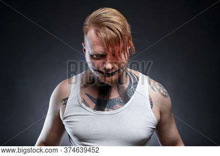 Tattooed Scary Mad With Horror Make Up