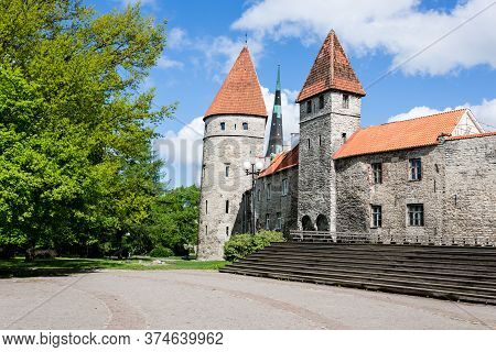 Two Towers In The Tallinn Old Town. Old Town Is Bordered By Walls Of Tallinn, Estonia, Europe