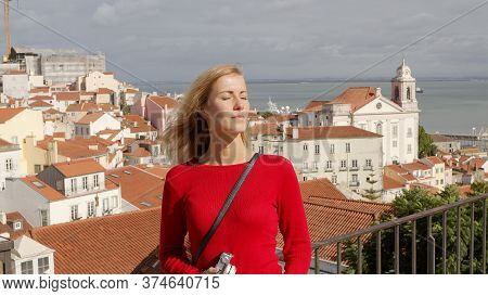 Beautiful Woman In Lisbon Alfama On A Sunny Day - Travel Photography