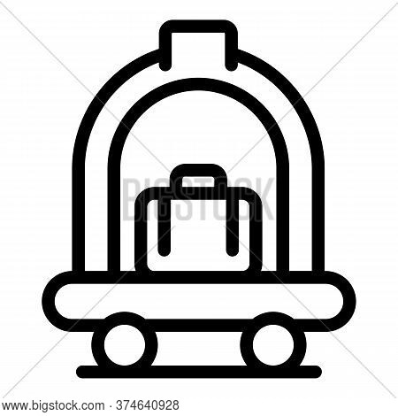 Hotel Luggage Cart Icon. Outline Hotel Luggage Cart Vector Icon For Web Design Isolated On White Bac