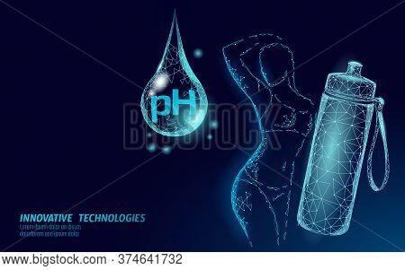 Water Ph Water Bottle Women Fitness. Sport Drink Health Care Fitness Shape Beautiful Female Silhouet