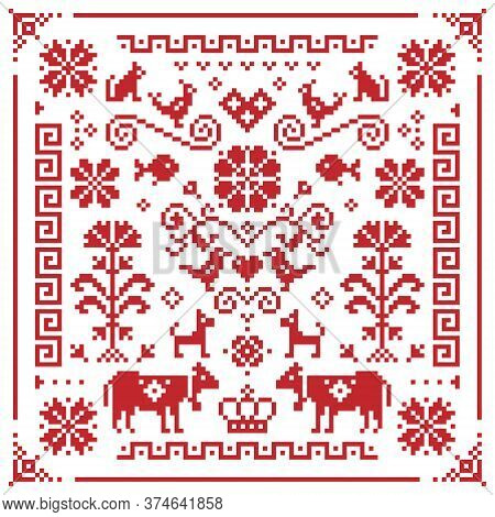 Retro Austrian And German Cross-stitch Vector Floral Pattern, Symmetric Emrboidery Tile Design With