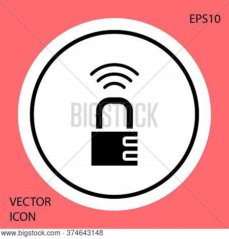 Black Smart Safe Combination Lock Icon Isolated On Red Background. Combination Padlock. Security, Sa