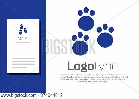 Blue Paw Print Icon Isolated On White Background. Dog Or Cat Paw Print. Animal Track. Logo Design Te
