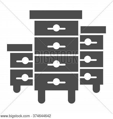 Bee Hives Solid Icon, Beekeeping Concept, Bee Houses Sign On White Background, Hives For Bees Icon I