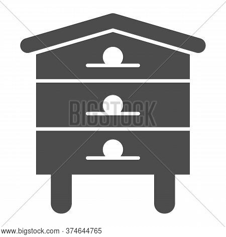 Bee Hive House Solid Icon, Beekeeping Concept, Beehive Sign On White Background, Hive For Bees Icon