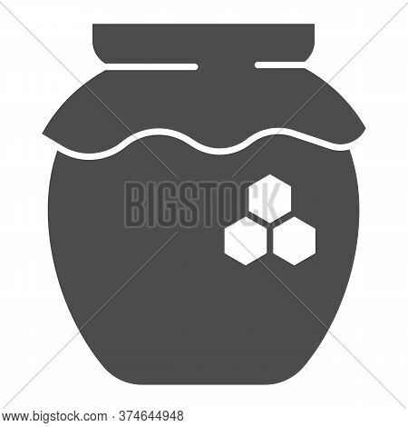 Can Of Honey Solid Icon, Beekeeping Concept, Natural Honey In Pot Sign On White Background, Jar Of H