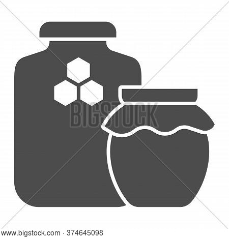 Jars Of Honey Solid Icon, Beekeeping Concept, Natural Honey In Pots Sign On White Background, Two Ho