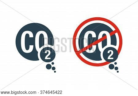 Co2 Emissions And Co2 Neutral Sign - Harmful Air Carbon Contamination Emblem - Isolated Vector Icon