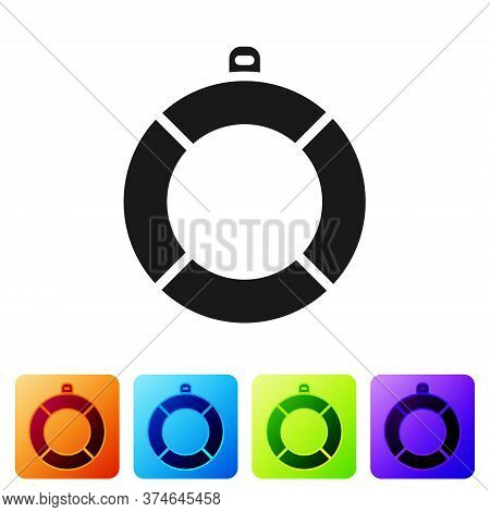 Black Lifebuoy Icon Isolated On White Background. Lifebelt Symbol. Set Icons In Color Square Buttons