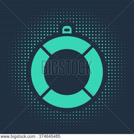 Green Lifebuoy Icon Isolated On Blue Background. Lifebelt Symbol. Abstract Circle Random Dots. Vecto