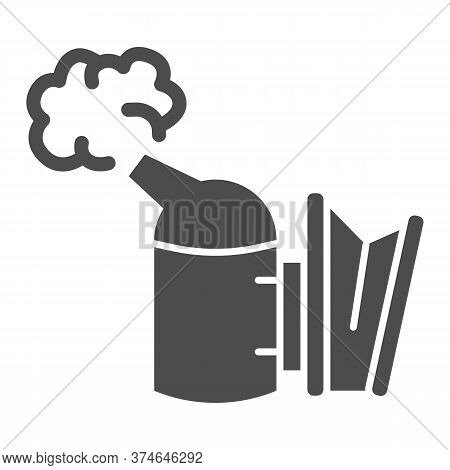 Beekeeping Smoker Solid Icon, Beekeeper Tools Concept, Smoker For Bees Sign On White Background, Api