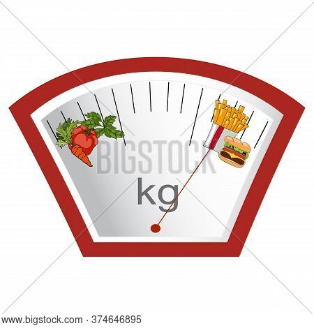 Vector. Hand Drawn. The Concept Of Weight Loss, Healthy And Unhealthy Food. Arrow Weights On Vegetab
