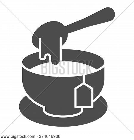 Tea With Honey Solid Icon, Teatime Concept, Honey Spoon And Tea Cup Sign On White Background, Mug Wi