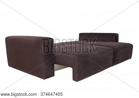 Modern Brown Fabric Sofa Isolated On White Background. Unfolded Soft Couch, Side View. Strict Style