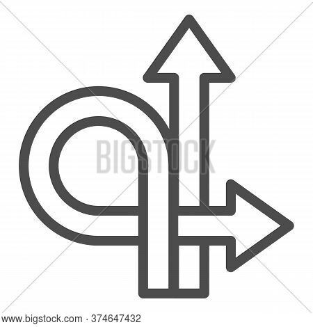 Arrows Straight And Turn Back Line Icon, Traffic Concept, U-turn Sign On White Background, Go Straig