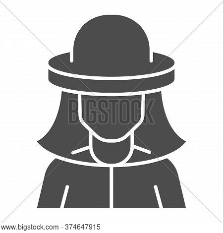 Beekeeper Solid Icon, Beekeeping Concept, Beekeeper In Protection Hat Sign On White Background, Beek