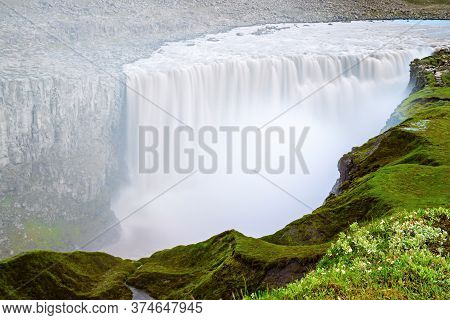 The Most Powerful Waterfall In Europe - Dettifoss Waterfall, North Iceland, Natural Travel Backgroun