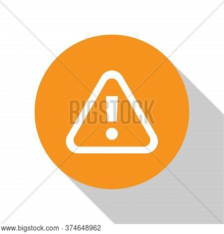 White Exclamation Mark In Triangle Icon Isolated On White Background. Hazard Warning Sign, Careful,