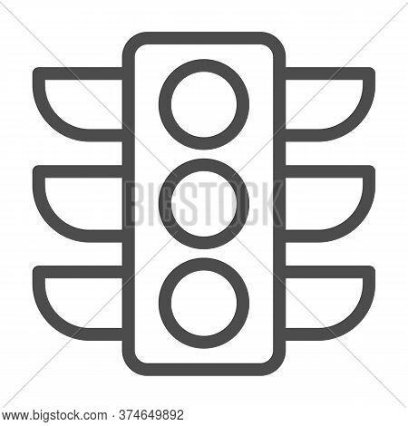 Traffic Lights Line Icon, Navigation Concept, Traffic Light Signal Sign On White Background, Road Li
