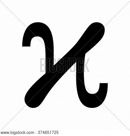 Kappa Variant Greek Letter Icon On White Background