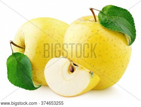 Yellow Apple Fruit With Green Leaf And Slice Isolated On White Background. Golden Apple With Clippin