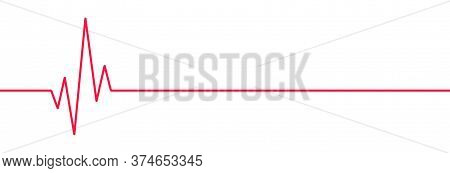 Red Heartbeat Line Icon. On Flat Style On White Background Vector Eps 10